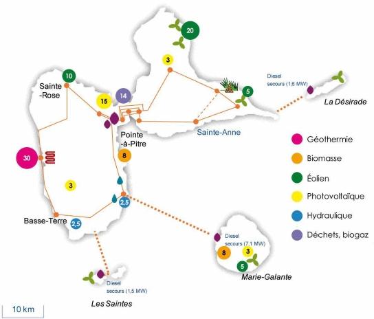 Localisation des nouvelles énergies renouvelables qui pourraient être retenues au titre du schéma régional de raccordement en Guadeloupe (Source : EDF)